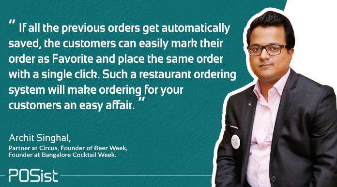 restaurant ordering system enables placing of online food orders