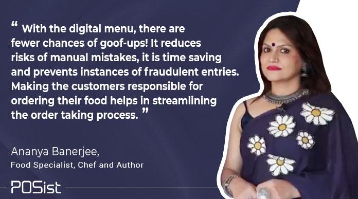 Ananya Banerjee, gave her insights showcasing the importance of digital restaurant menu.