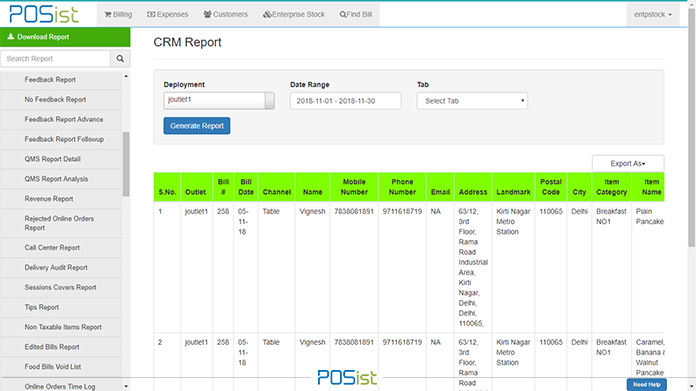 CRM Restaurant reports give you details about your customers and their behavior