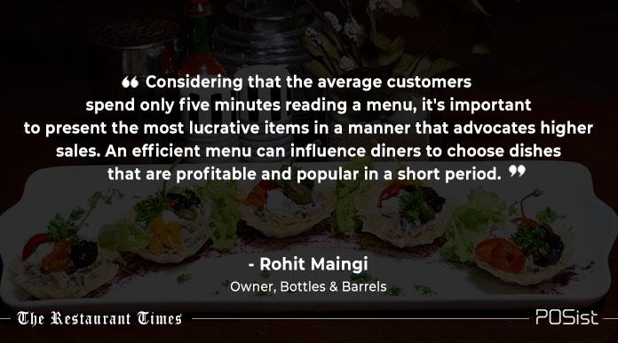 Rohit Maingi of Bottles and Barrels talks about menu engineering