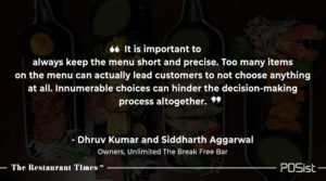 Dhruv Kumar and Siddharth Agarwal of Unlimited talk about the importance a menu short