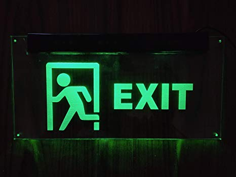 exit signs and lights at restaurants